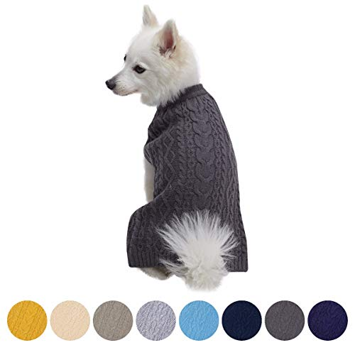 Blueberry Pet Classic Wool Blend Cable Knit Pullover Dog Sweater in Smoke Grey, Back Length 18″, Pack of 1 Clothes for Dogs