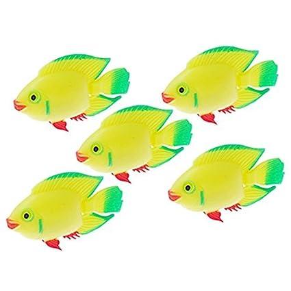 DealMux plástico flotador peces de acuario tanque de decoración, amarillo / verde