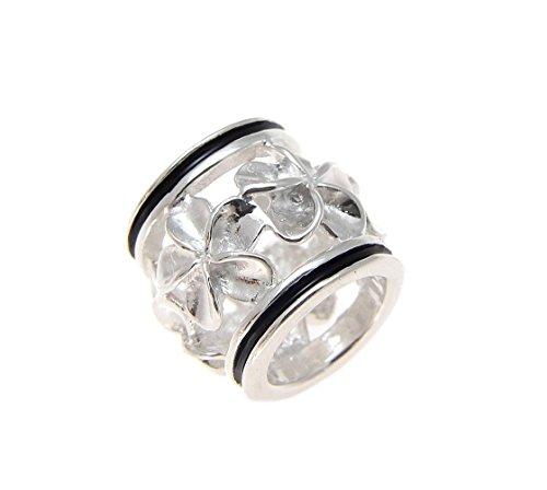 (925 Sterling silver Hawaiian plumeria flower barrel tube slide black enamel border 9.5mm pendant)