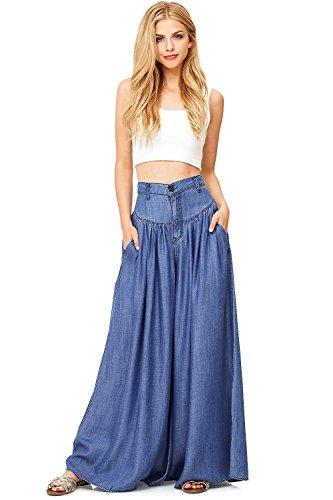 - Vibrant Women's Juniors Super Wide Leg Denim Pants (M, Dark Denim)