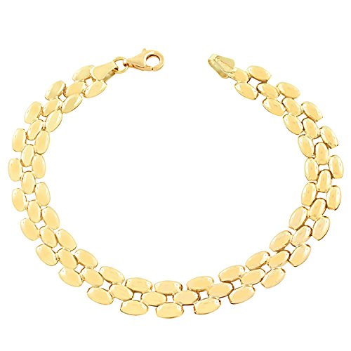 10k Yellow Gold 7.8mm Panther Bracelet (7.5 inch)