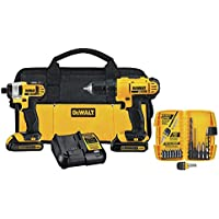 Dewalt DCK241C2 20V MAX Compact Drill/Driver and Impact Driver Kit with 15 Piece Accessory Kit