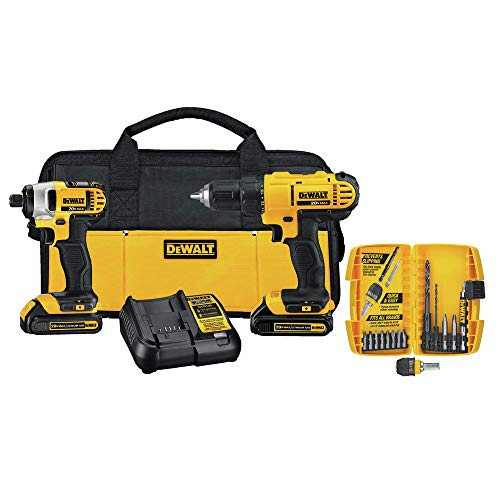 DEWALT DCK241C2 20V MAX Compact Drill/Driver and Impact Driver Kit (with 15 Piece Accessory Kit) ()