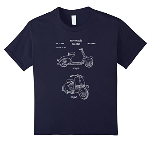 Price comparison product image Kids Vintage Scooter Moped Shirt - Retro Blueprint Gas Motorcycle 12 Navy