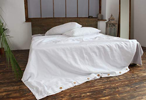 (Linen Duvet Cover with Brown Buttons - in Natural, White and Grey Colors - with Ties to Fix Comforter)