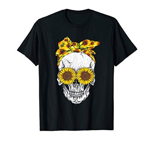 (Skull sunflower floral flowers t shirt cute gift shirt)
