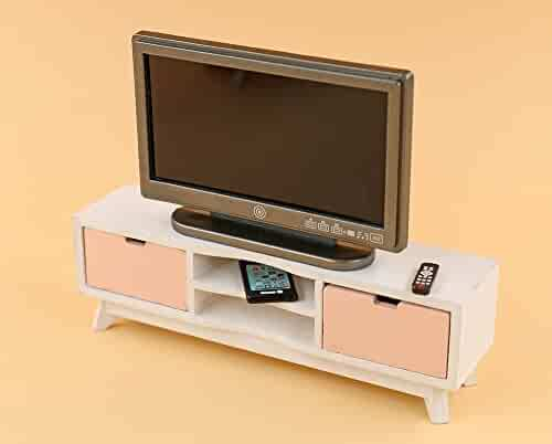 Wooden TV Bench//Cabinet//Stand Miniature Furniture for Flat Screen 1:12 Dollhouse