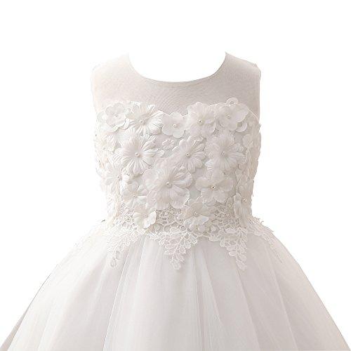 Spitze Partykleider Zug mit Blumenmädchenkleider Applique Erosebridal Perlen 6wfd61