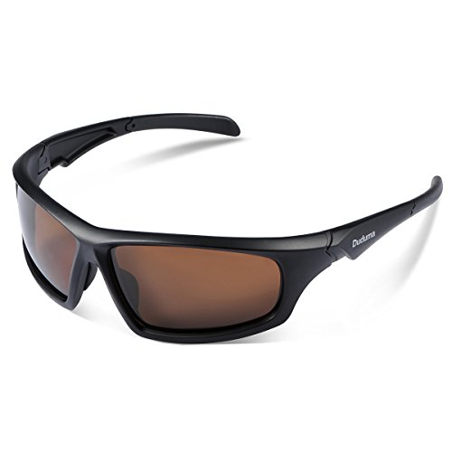 Duduma Tr601 Polarized Sports Sunglasses for Baseball Cycling Fishing Golf Superlight Frame (639 Black matte frame with brown lens)