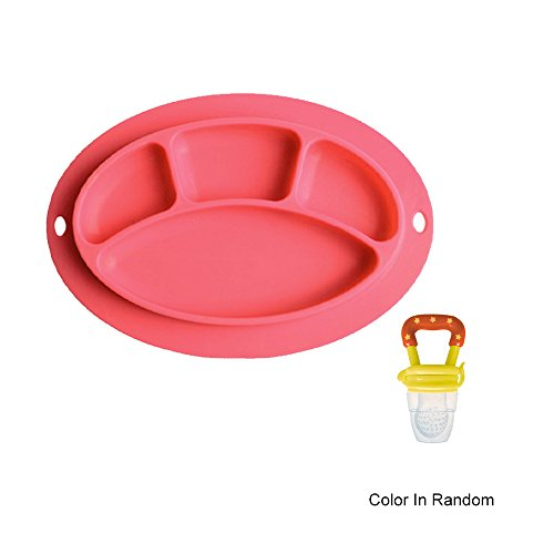 Sealive Baby Toddler Placemat BPA Free Silicone Plate Set Red + 1pcs Baby Food Fruit Feeder Silicone Pacifier Teething Toy Nibbler with Fresh Fruit Vegetable for Infants ()
