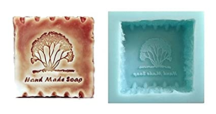 """Molde de silicona para jabones artesanos, diseño cuadrado con un árbol y texto """""""