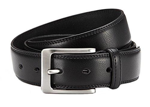 Herren Anzug-Gürtel 3,5 cm Breite Business Leder Gürtel - Individuell kürzbar durch Schraubhalterung an der Schnalle (Bundweite: 105cm = Gesamtlänge: 120cm, Schwarz)