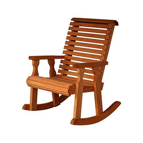 Amish Heavy Duty 600 Lb Roll Back Pressure Treated Rocking Chair Cedar Stain