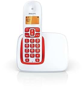 Philips CD1901WR/23 - Teléfono inalámbrico, 1.6 pulgadas, teclado retroiluminado, agenda con 50 nombres, 16 horas de conversación, color blanco/rojo