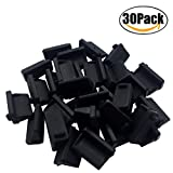 ThreeBulls 30 Pcs Silicone USB Port Cover Anti Dust Protector for Female End Black