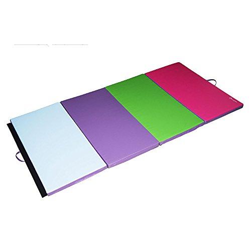 Soozier PU Leather Gymnastics Tumbling/Martial Arts Folding Mat, Light Blue/Purple/Green/Pink, 4 x 8' x 2
