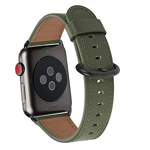 WFEAGL Compatible iWatch Band 38mm 40mm, Top Grain Leather Band Replacement Strap for iWatch Series 4,Series 3,Series 2,Series 1,Sport, Edition (Olive-Green Band+Black Adapter,38mm 40mm)