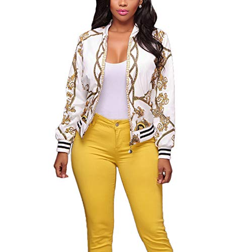 (AEL Women's Baseball Biker Bomber Jacket Long Sleeve Zip up Printed Casual Short Coat(White,XL))