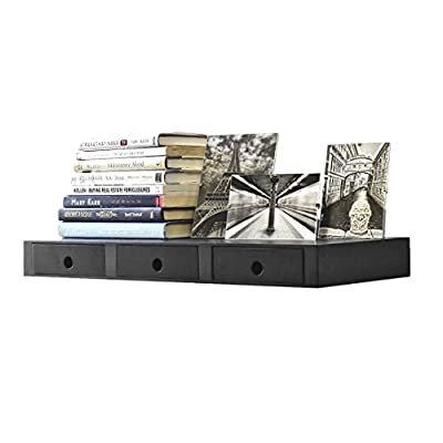 Wallniture Wall Mountable Floating Shelf Storage Organizer with 3 Drawers in Black - Functional Storage: The 3-drawers will help you free-up valuable floor space, you don't have to purchase a heavy and bulky storage cabinet in your entryway to help you keep things organized, don't lose a key, bill, or letter anymore. Convenient Reaching: Store your most important belongings easy to reach so you don't have to bend, or lean forward to get your hands on your keys, wallet, sunglasses, phone, pens, pencils, or bills. No Assembly Required: The entryway organizer comes fully assembled and ready to use, with the concealed brackets you can easily hang this on the empty wall space next to your door, the mounting hardware is included for easy installation. - wall-shelves, living-room-furniture, living-room - 41xEAM EogL. SS400  -