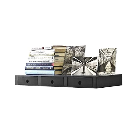 Wallniture Wall Mountable Floating Shelf Storage Organizer with 3 Drawers in Black - Functional Storage: The 3-drawers will help you free-up valuable floor space, you don't have to purchase a heavy and bulky storage cabinet in your entryway to help you keep things organized, don't lose a key, bill, or letter anymore. Convenient Reaching: Store your most important belongings easy to reach so you don't have to bend, or lean forward to get your hands on your keys, wallet, sunglasses, phone, pens, pencils, or bills. No Assembly Required: The entryway organizer comes fully assembled and ready to use, with the concealed brackets you can easily hang this on the empty wall space next to your door, the mounting hardware is included for easy installation. - wall-shelves, living-room-furniture, living-room - 41xEAM EogL. SS570  -