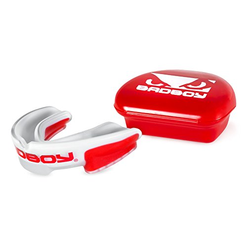 Bad Boy Multi-Sport Mouthguard - White/Red - Red Case - White Eyes