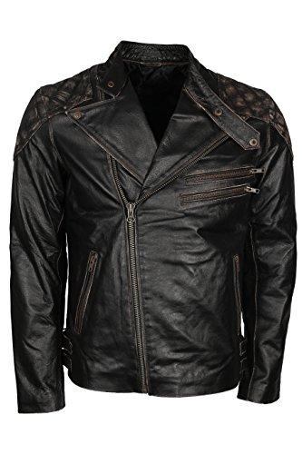 Men Skull and Bones Leather Biker Jacket - Vintage Jackets for Motorcycle Rider - Genuine Lambskin - (S) Black