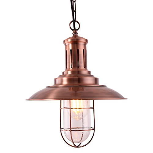MSTAR Industrial Pendant Lighting Fishman Style Ceiling Light Fixture Farmhouse Pendant Light for Kitchen Caf Bar Antique Copper