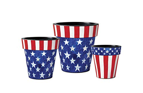 Studio M Starts and Stripes Forever Art Planters Summer Patriotic Decorative Pots, Fade-Resistant Container for Outdoors or Indoors - Set of 3, Printed in The USA, 12, 15, and 18 Inch Diameter