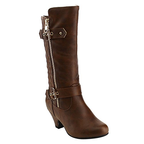 Lucky Top EE15 Girl's Classic Buckle Detail Zipper Kitten Heel Knee High Boots, Color:BROWN, Size:3 M US Little Kid (3m Detail compare prices)
