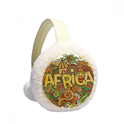 African Aboriginal Art Pattern Tribal Winter Earmuffs Ear Warmers Faux Fur Foldable Plush Outdoor Gift by DIYthinker