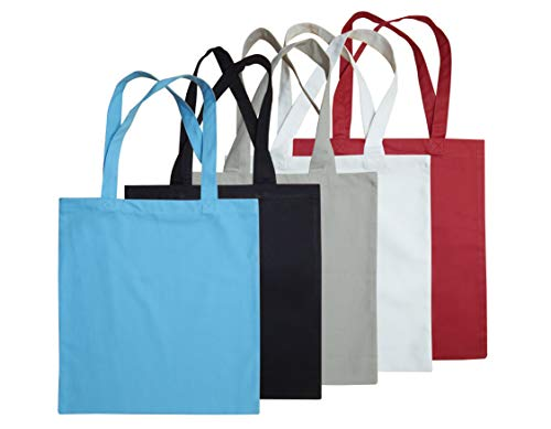 Tiny Break Cotton Canvas Multi Color Reusable Grocery Bags, Fabric Tote Bags, Shopping Bags with Handles, Strong and Eco Friendly, Size 15