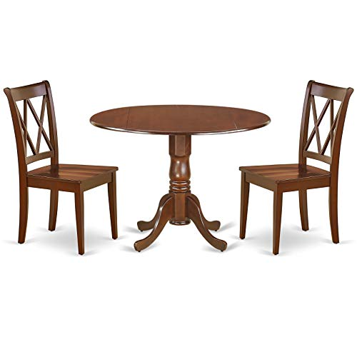 East West Furniture DLCL3-MAH-W 3PC Round 42 inch Table with Two 9-Inch Drop Leaves and 2 Double X Back Chairs, Mahogany