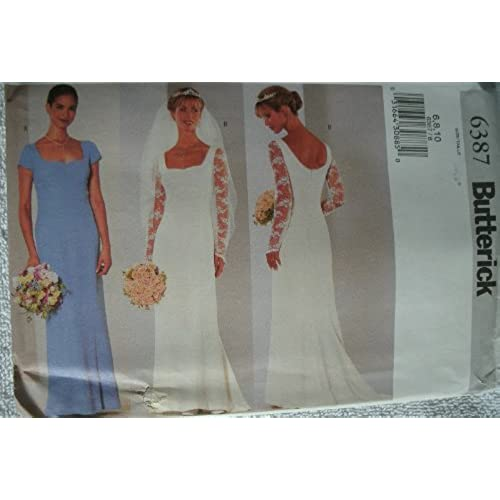 Butterick 6387 Wedding Bridal Gown Evening Dress Sewing Pattern Brides Maid Size 6 8 10