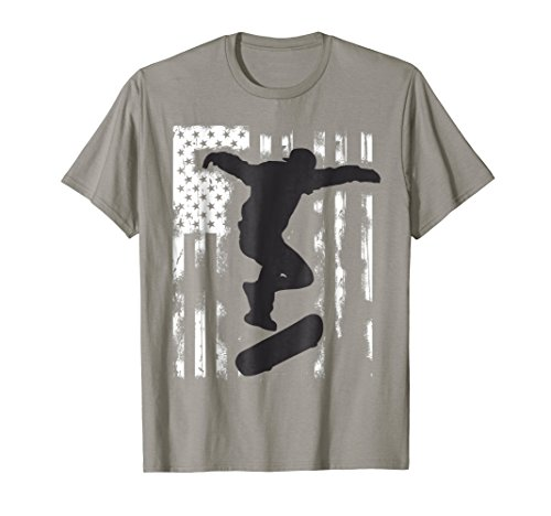 skater American Flag skateboard jump T-Shirt