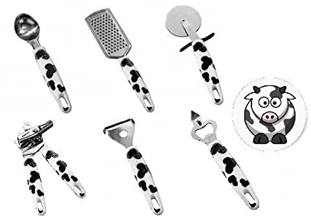 Shop Of Accessories Cow Print Kitchen Utensil Kit Can Opener Ice Cream Scoop Bottle Opener Grater Peeler Pizza Cutter Amazon Co Uk Kitchen Home