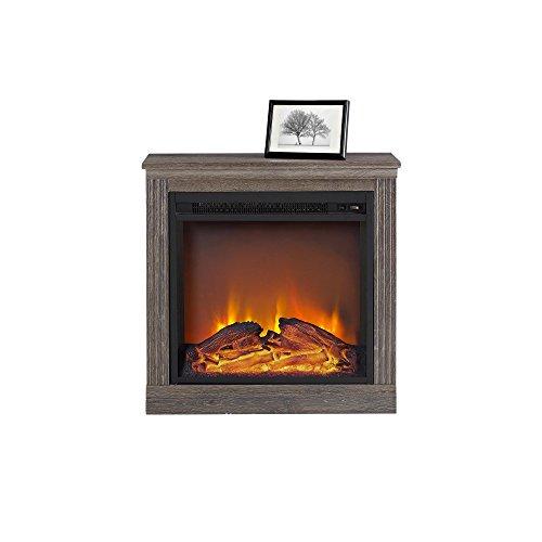 Altra Furniture Bruxton Electric Fireplace Medium Brown