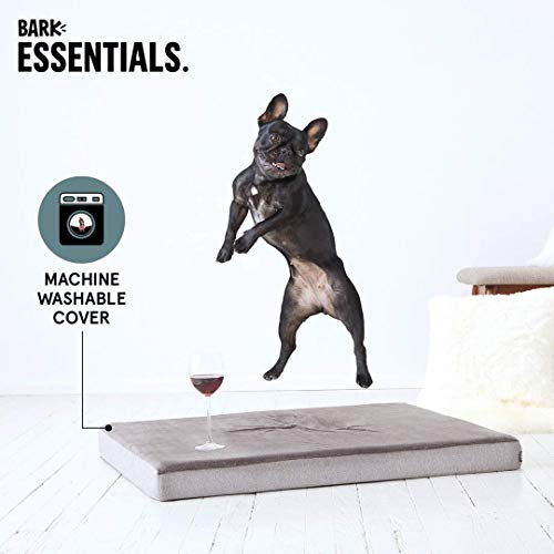 BarkBox Large Gray 3 Tall Pressure-Relief Orthopedic Memory Foam Dog Bed or Crate/Kennel Mat - Removable Washable Fleece Cover - Free Surprise