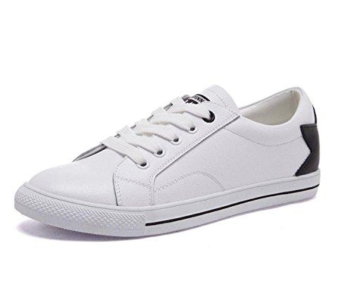 Scarpe Women 's YCMDM cuoio genuino Spell scarpe Tie Lace Tempo libero Piccolo piatto bianco Scarpe comode scarpe rotonde singoli pattini , white black , 37