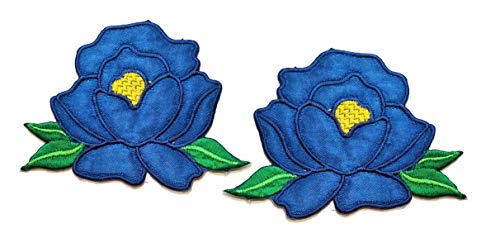 Nipitshop Patches Blue Rose Lotus Flowers Embroidery Patches Sew On Patches Flower Applique for Clothes Jackets T-Shirt Jeans Skirt Vests Scarf Hat Backpacks