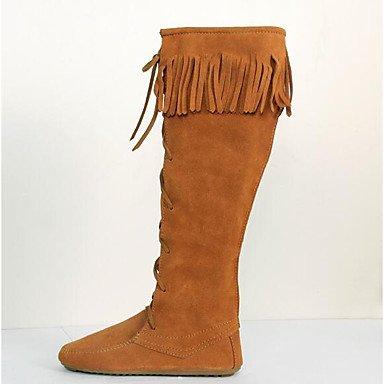 Botas de la mujer confort confort informal de primavera de gamuza marrón oscuro Marrón plana negra Brown