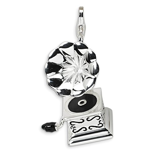 925 Sterling Silver 3 D Enameled Phonograph Lobster Clasp Pendant Charm Necklace Musical Fine Jewelry Gifts For Women For Her