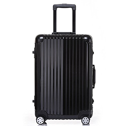 Aluminum Rolling Luggage Spinner Trolley Carry-On Suitcase Black 24 Inch by Caraya