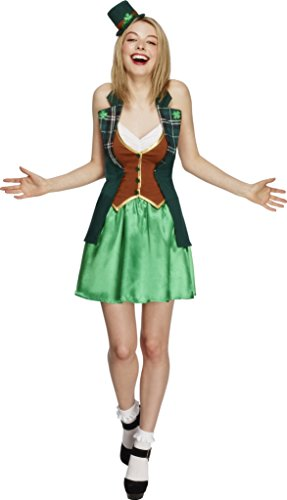 [Smiffy's Women's Fever St Patricks Costume, Jacket, Skirt, Attached Underskirt and Mini Hat, Around the World, Fever, Size 10-12,] (Womens Halloween Costumes Uk)