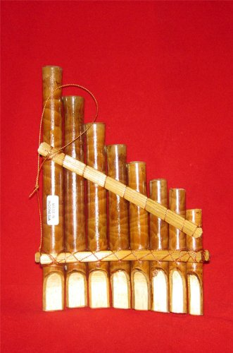 Pan Flute 8 Note Curved Wooden Hand Made Bamboo Wind Instrument Indonesia