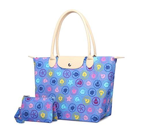 Crest Design Women's Water Repellent Nylon Handbag Tote Shoulder Bag (Large, Blue Wonderland) (Cheap Designer Bags)