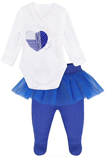 Lilax Baby Girl Heart Long Sleeve Top, Tutu Pant 2 Piece Outfit Set 3-6 ()