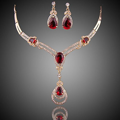 wang HOT RED Cubic Zirconia Yellow/White Gold Plated Crystal Water Drop Necklace Earring Jewelry Set