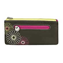 Travelon Safe ID RFID Blocking Daisy Double Zip Clutch Wallet - Black