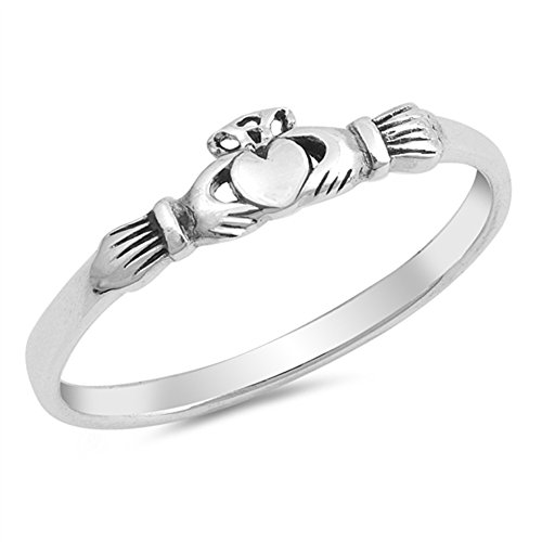 Claddagh Heart Friendship Promise Ring New .925 Sterling Silver Band Size 9