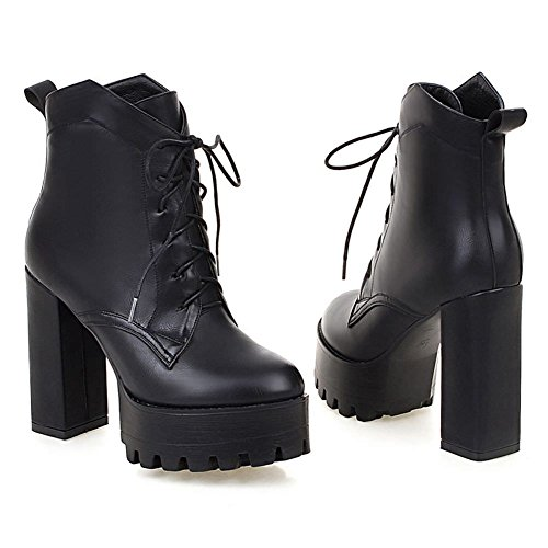 DecoStain Women's PU Black Sexy Stretchy Ankle Wide Calf Platform Thigh High Heel Boots Sizes 3 4 5 6 7 8 9 UK Black 7HL6WQ0gWc